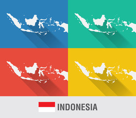 Indonesia world map in flat style with 4 colors.