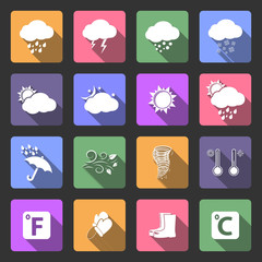 Weather icons, flat design vector