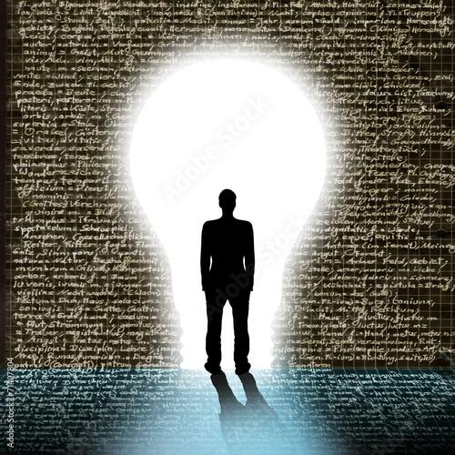 canvas print picture Silhouette eines Mannes vor Wand mit Schrift