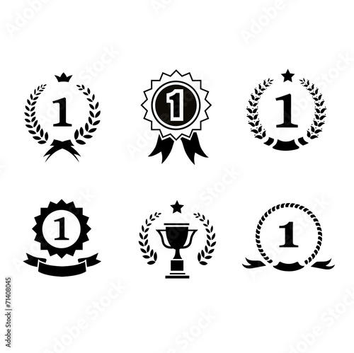 Set of black and white circular vector winner emblems with - 71408045