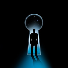 Silhouette eines Mannes vor Schlüsselloch