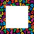 Alphabet Frame square multicolor letter black border, copy space