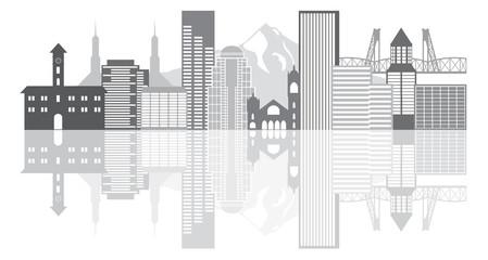Portland Oregon Skyline Grayscale Vector Illustration