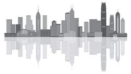Hong Kong City Skyline Grayscale Panorama Vector Illustration
