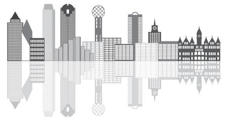 Dallas City Skyline Grayscale Vector Illustration