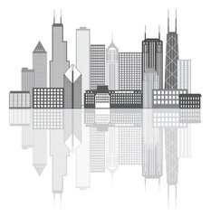 Chicago City Skyline Grayscale Vector Illustration