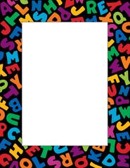 Alphabet Frame multicolor letter black border, poster copy space