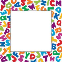 Alphabet Frame square multicolor letter white border, copy space