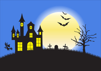 Strange house, graveyard and bats on background of the full moon