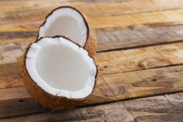 Fresh coconut on wooden table