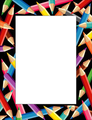 Pencils Frame, multicolor square black border, poster copy space