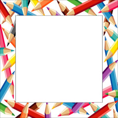 Pencils Frame, multicolor square white border, poster copy space