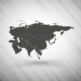 Eurasia map on gray background, grunge texture vector poster
