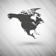 North america map on gray background, grunge texture vector