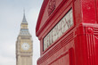 roleta: Red Telephone Booth and Big Ben in London