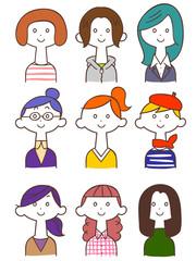 若い女性のイラストセット