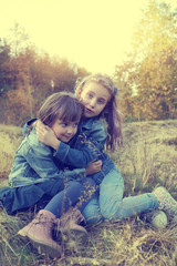 Two sisters hug