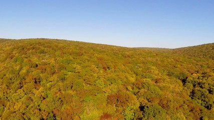 Wild balkan forest in autumn colors, aerial view