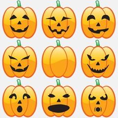 Set smile pumpkins for Halloween
