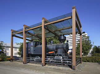 Locomotive on Railway station in Jyvaskyla. Finland