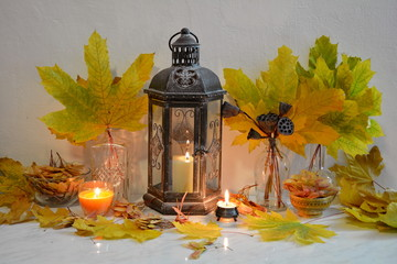 Antique lantern still life