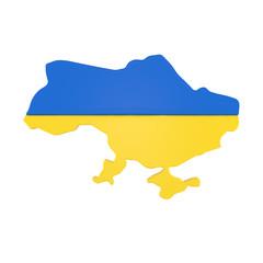 Ukraine map with flag isolated on white