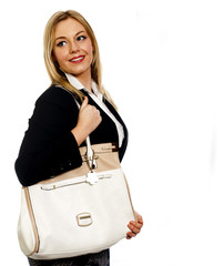 Young business woman with large bag over her shoulder