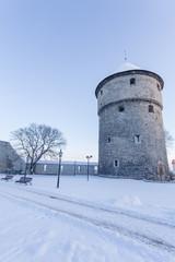 Winter view of tower Tallinn, Estonia