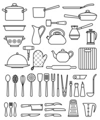 Set of silhouette kitchen utensils and collection of cookware