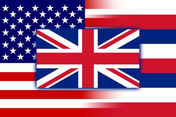 USA and Hawaii State Flag