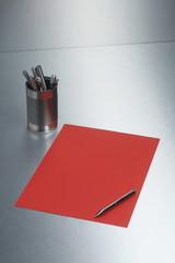 desk pen metal blank paper sheet