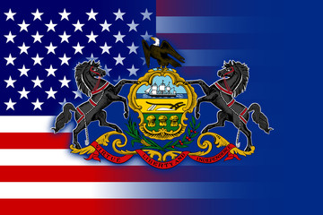 USA and Pennsylvania State Flag