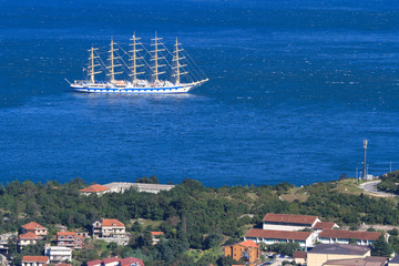 Sailing ship in the bay near the town of Kotor