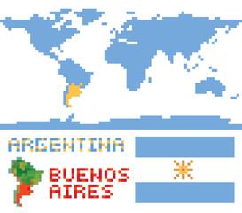 Argentina on world map, border shape flag and capital buenos