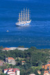 Five-masted ship in the Bay of Kotor, Montenegro