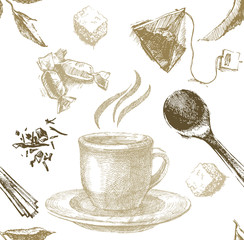 hand drawn tea seamless