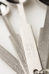 Details of metal measuring spoons