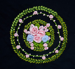 Hand Made Embroidery And Cross-Stitch Flower Design