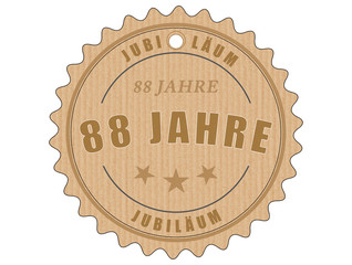 je88 JubiläumsEtikett 88 - vintagedesign - 88 Jahre - g1988