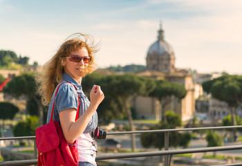 Young female tourist in Roman Forum in Rome