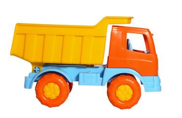 Toy dumper truck side view