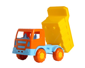 A toy truck with raised dump body