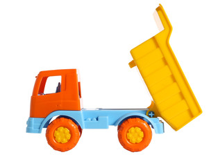 A toy dumper with raised body