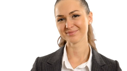 Young beautiful business woman  smiling on a white background