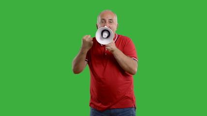 senior man with megaphone on a grey background.