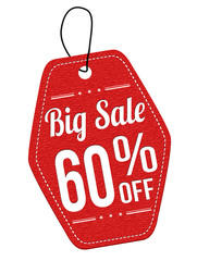 Big sale 60% off red leather label or price tag