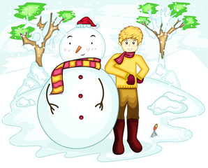 Young man celebrating Christmas in winter with big snowman