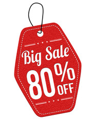 Big sale 80% off red leather label or price tag