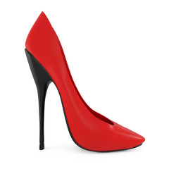 High heel red women shoes isolated on white