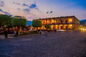 Baroque building in main square plaza Antigua Guatemala